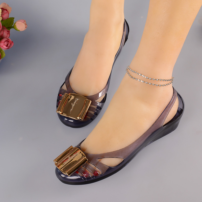 Plastic Sandals Beach-Shoes Jelly Summer Women Square Crystal Mouth Slope Hollow Holiday