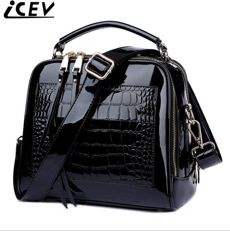 ICEV Brand Organizer 2017 Women Handbag Patent Leather High Quality Designer Clutch Satchels Messenger Bag Ladies Shoulder Sac patent leather handbag shoulder bag for women