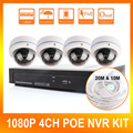 Ao ar livre Câmera Dome IP HD Recorder 4CH POE NVR KIT 1080 P Sistema de Câmera de Vigilância de Segurança Em Casa 1920*1080 2.0MP Gravador