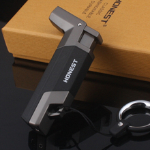 Boutique Windproof Stainless steel Butane Jet Cigar Turbo Torch Lighter Key Ring Random Color Flannel Packaging