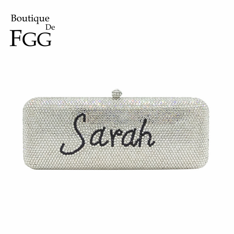 Boutique De FGG DIY Customzie Name Letters Women Crystal Clutch Evening Handbags Purses Wedding Cocktail Diamond