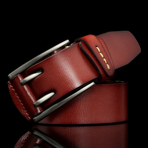 Fashion British Style Double Pin Buckle High Quality Genuine Leather Belt For Men Casual Jeans Waistbands Strap Free Shipping Karachi