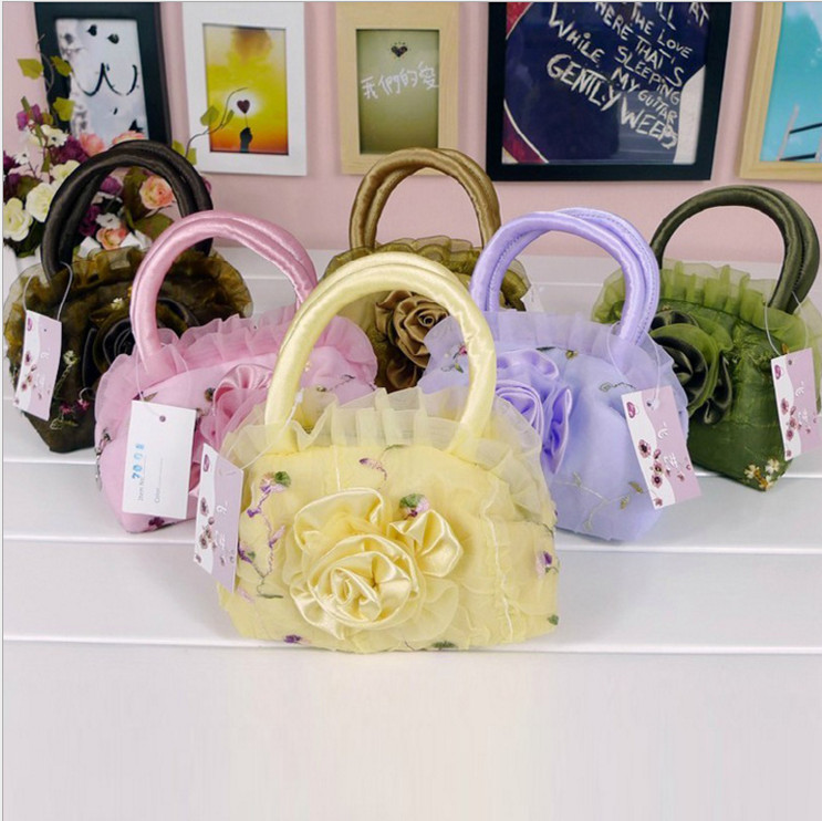 Mini colorful makeup bag fashion coin purse phone bag girl s lace handbag
