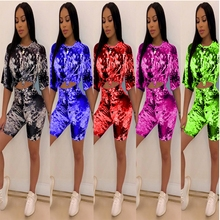 Tie Dye Print Two Piece Set Crop Top And Shorts Sets Sexy Casual Playsuits Activewear Summer Outfits 2019 Loose Sweat Suit цена