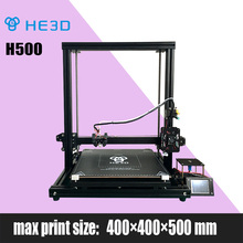Presell HE3D newest DIY 3D printer H500, large printing size 400*400*500mm, supporting continue to print after filament exhaust