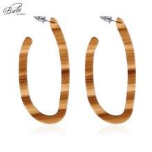 Badu Wooden Striped Acrylic Earrings Geometric Studs Acetic Acid Earring for Women Vintage Jewelry Gift Girls Wholesale