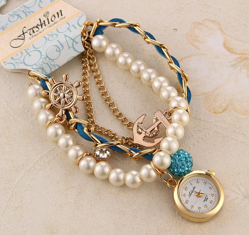 free shipping hand watch, ailisha new type crystal and pearl ...