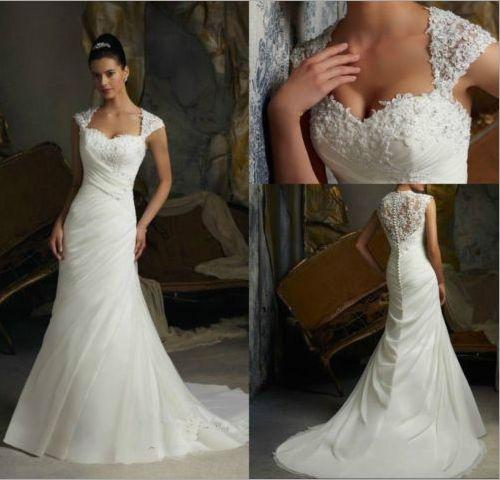 Women Graceful Lace Embroidery Beading Cap Sleeve Court Train Long Mermaid  Wedding Dress Back Gauze Ruched Sweetheart Dresses 80124088ffb1