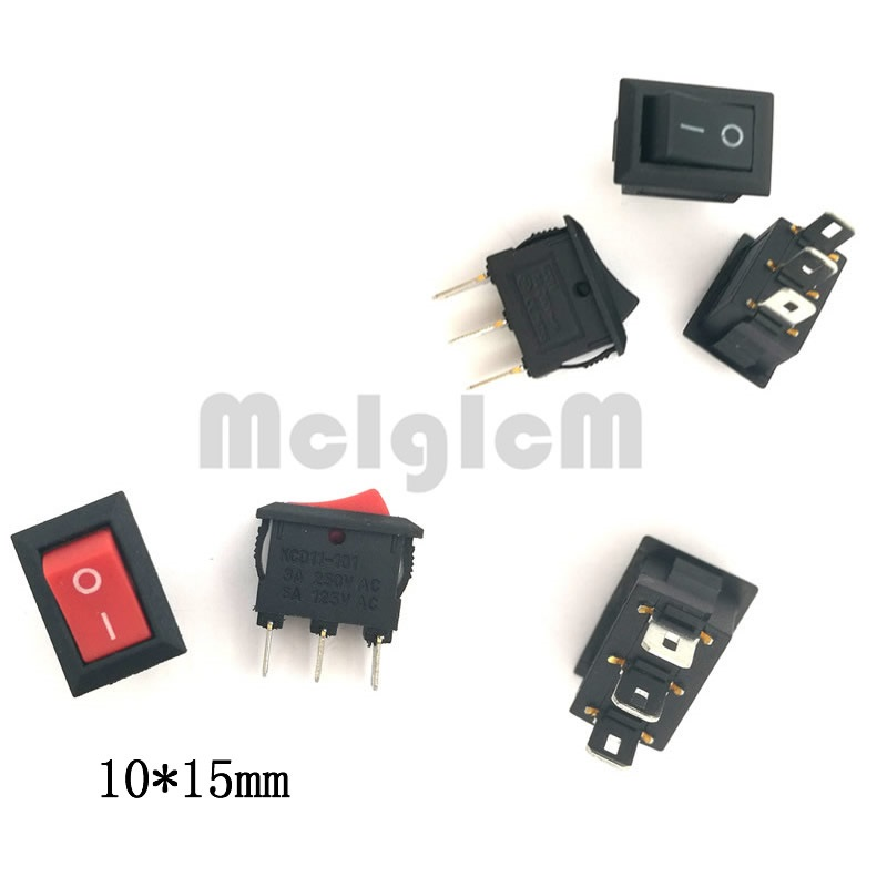 цена на Rocker Switch 3 Pin 3A 250V 6A 125V SPDT Snap in ON-OFF 10*15mm Black and Red Switches