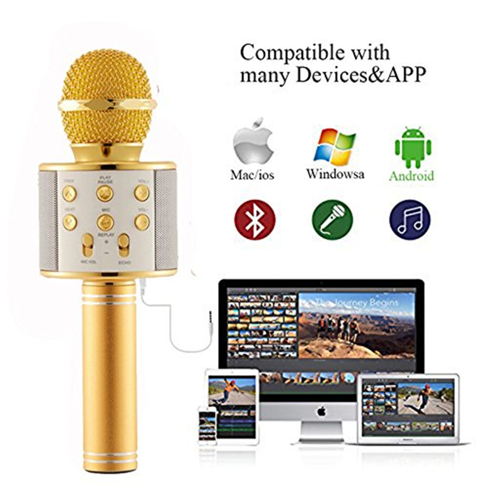 WS858 professional wireless microphone condenser karaoke mic bluetooth radio mikrofon mikrafon studio recording studio WS 858 heat live broadcast sound card professional bm 700 condenser mic with webcam package karaoke microphone