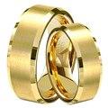 1 Par Amantes Banhado A Ouro Alianças de Casamento Dele e Dela Prometeu tungsten anéis set hot venda no brasil tamanho 4-14 tu051rc aliança
