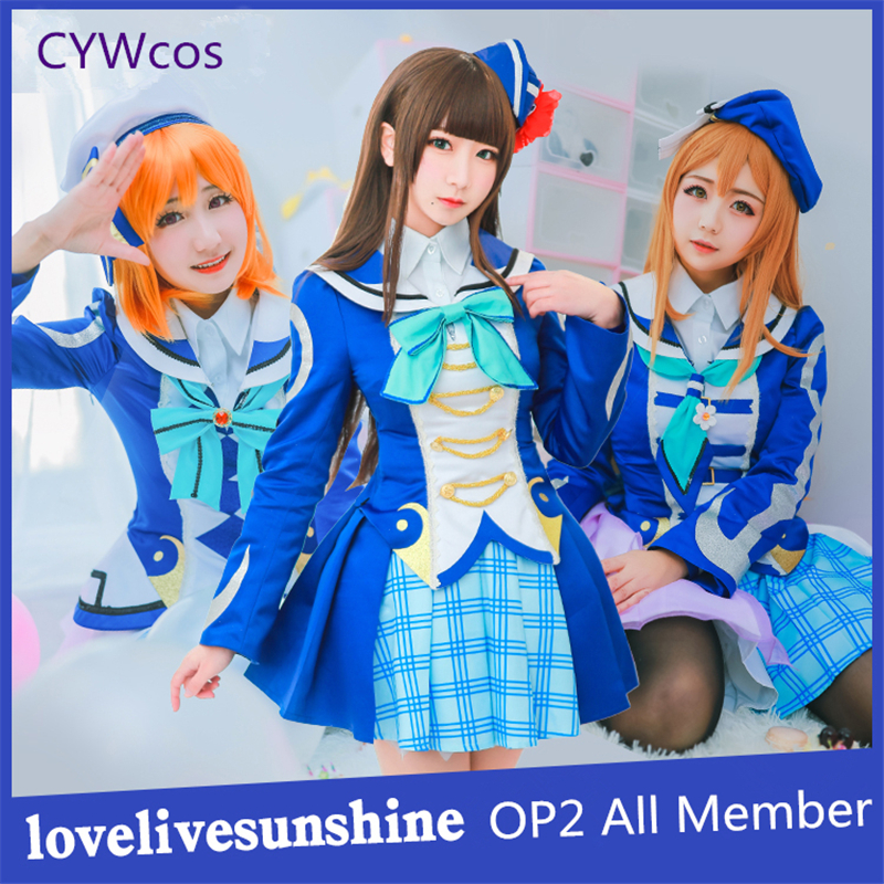 love live sunshine Aqours OP2 Fight Song All Member Kurosawa Dia Ruby Cosplay Costume Women Dress Uniforms Christmas Costume