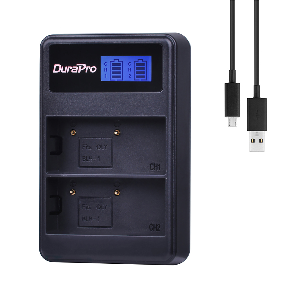 Durapro 1pc BLH 1 BLH1 BLH 1 LCD Dual Battery Charger for Olympus BLH 1 BLH1 BLH 1 E M1 Mark II EM1 2 EM1 Mark Camera|Camera Charger| |  - title=