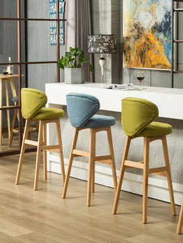 цена на Nordic solid wood bar chair modern minimalist creative bar chair front backrest high bar stool home bar chair