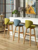 Nordic solid wood bar chair modern minimalist creative bar chair front backrest high bar stool home bar chair
