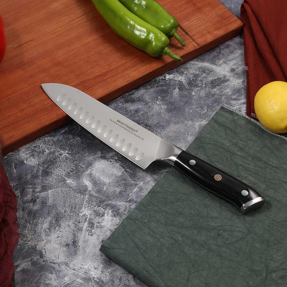 Ножи Mokithand, 7 дюймов, Santoku, профессиональный японский кухонный нож, Высокоуглеродистый, Германия, 1,4116 сталь, поварской нож с Pakka Wood