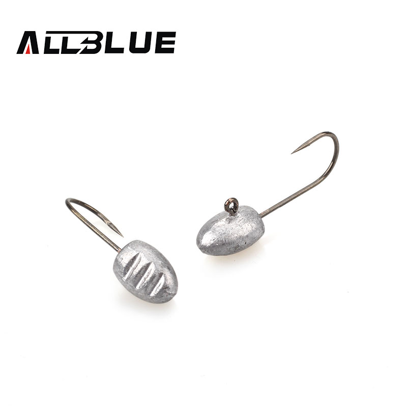 ALLBLUE Exposed Lead Jig Head 3g Barbed Hook 10pcs/lot Soft Lure Jigging Hook Fishing Hooks Fishing Tackle