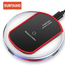 Suntaiho QI Wireless Charger for IPhone X/8 Samsung S7/S8/S6 S6 Edge Plus/Note 5 Edge Nexus5 Xiaomi mi9 USB Charger Pad