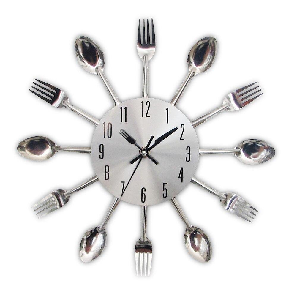 Fashion Metal Kitchen Wall Clocks 2019 New Arrivals Creative Spoon Fork European Quartz Modern Design Home Decor Clocks