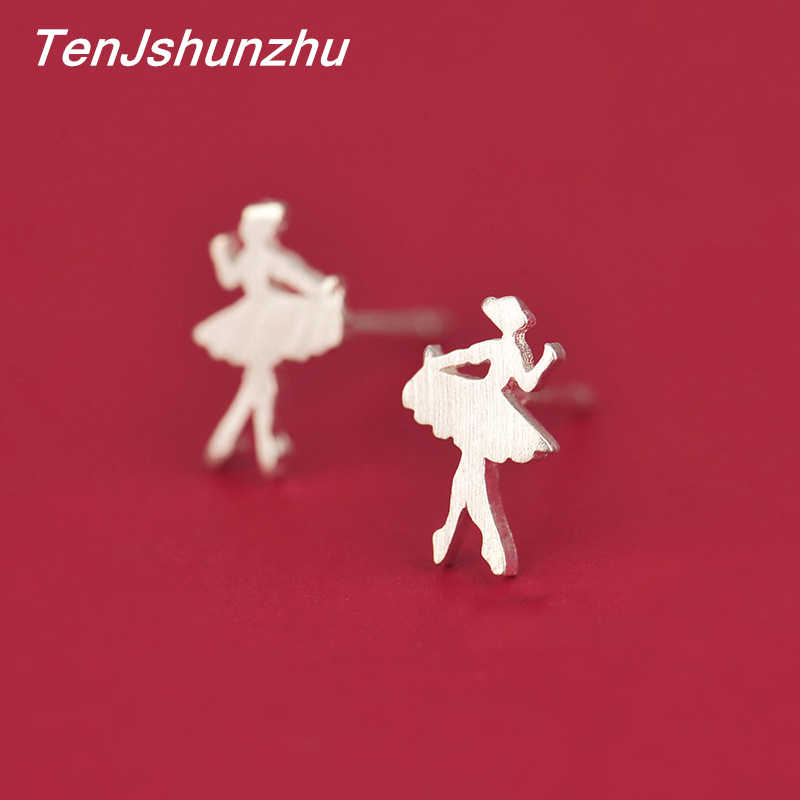 925 Sterling Silver Tiny Ballet Dancer Stud Earrings for Women Gril Authentic Silver Wedding Jewelry Bijoux EH419
