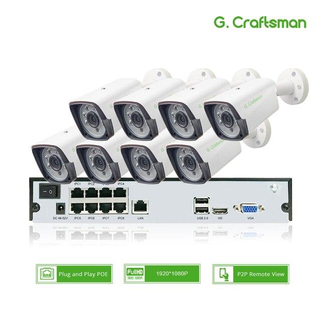 8ch 1080P POE zestaw H.265 System CCTV bezpieczeństwo 9ch NVR 2.0MP zewnętrzna wodoodporna kamera IP nadzór alarmowy wideo P2P G.Craftsman