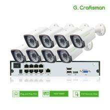 Sistema de seguridad CCTV para exteriores Kit POE de 8 canales, 1080P, H.265, 9ch, NVR, 2.0MP, cámara IP impermeable, alarma de vigilancia, vídeo P2P G.Craftsman