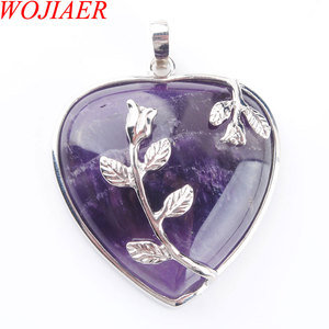 Image 2 - WOJIAER Natural Amethysts Jewelry Rose Flower Pendant Necklaces Leaf Real Love Heart Gem Jewellery for Girl PN3181