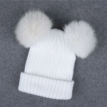 467734f2c5e4e2 Winter Real Fur Ball Beanie Hat for Women Ladies Fluffy Double Natural  Raccoon Fur Pom Pom Skullies Beanie Hat With 2 Fur Pompom