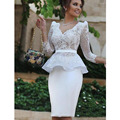 White Lace Long Sleeve Short Cocktail Dress 2016 New V Neck Illusion Peplum Two Pieces Mermaid Formal Occasion Prom Dress Arabic