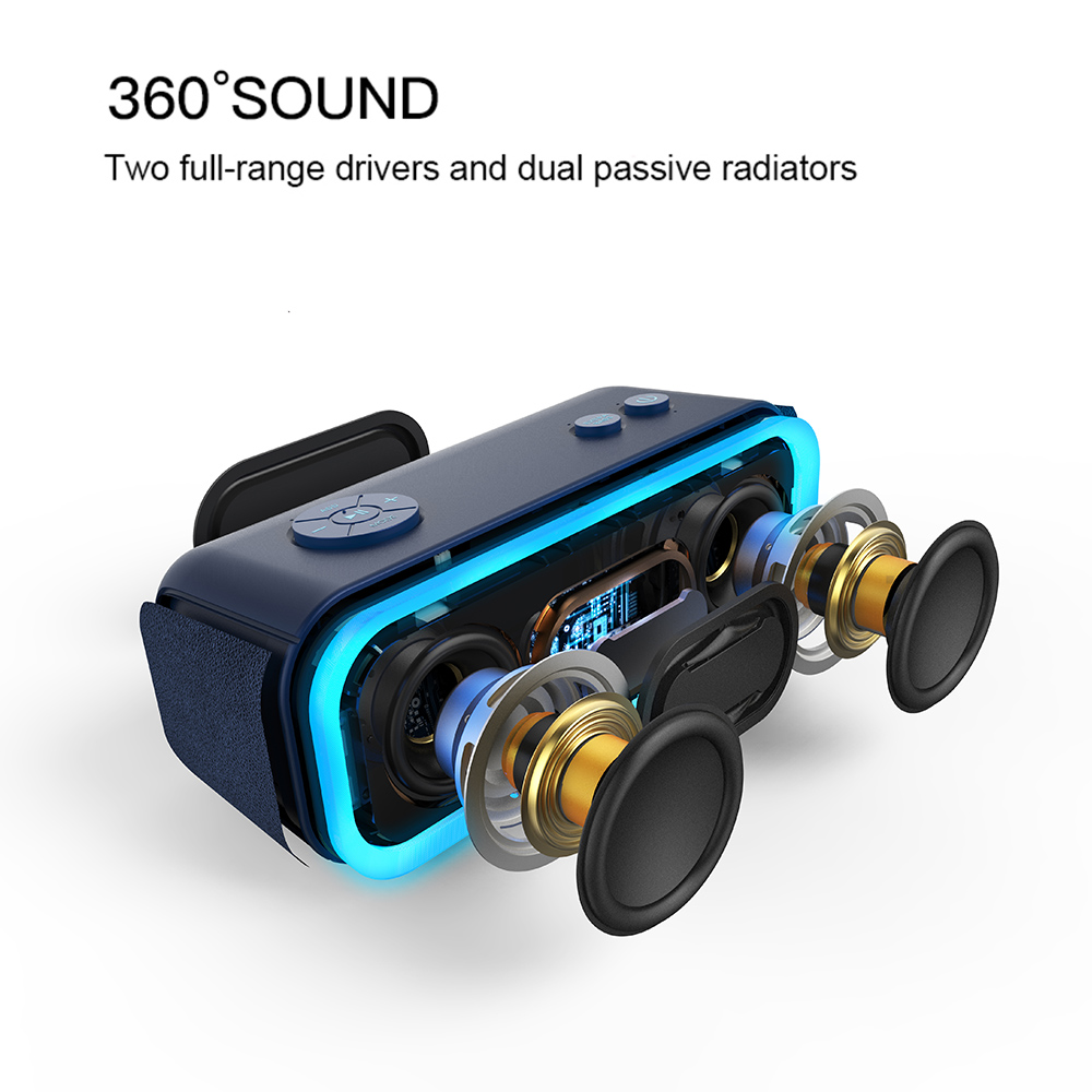 Image 2 - DOSS SoundBox Pro TWS Wireless Bluetooth Speaker 2*10 Drivers with Flashing LED Light Enhanced Bass Stereo Sound IPX5 Waterproof-in Portable Speakers from Consumer Electronics