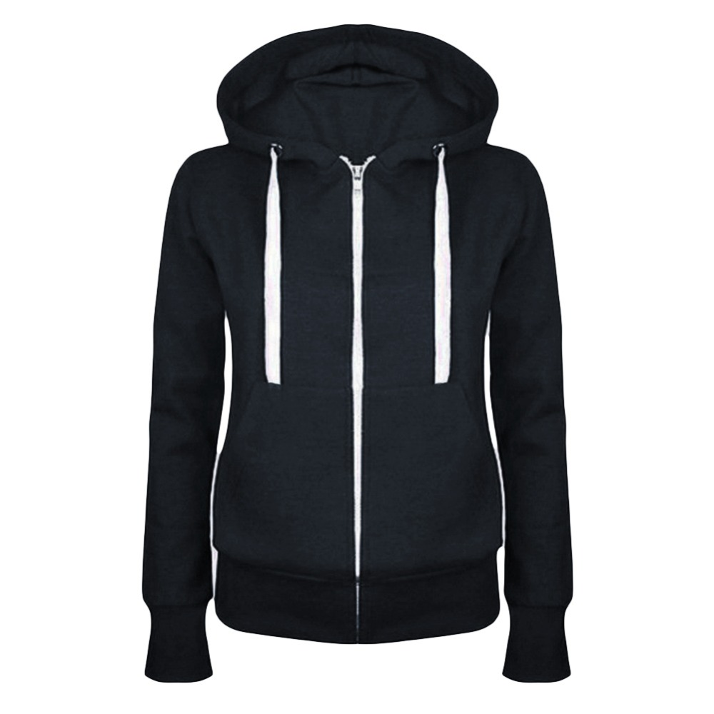 Hot New Winter Autumn Women Hoodie Sweatshirt Casual Hooded Top Coat Pullover Zipper Jacket Solid Color Hoodies Sweatshirts