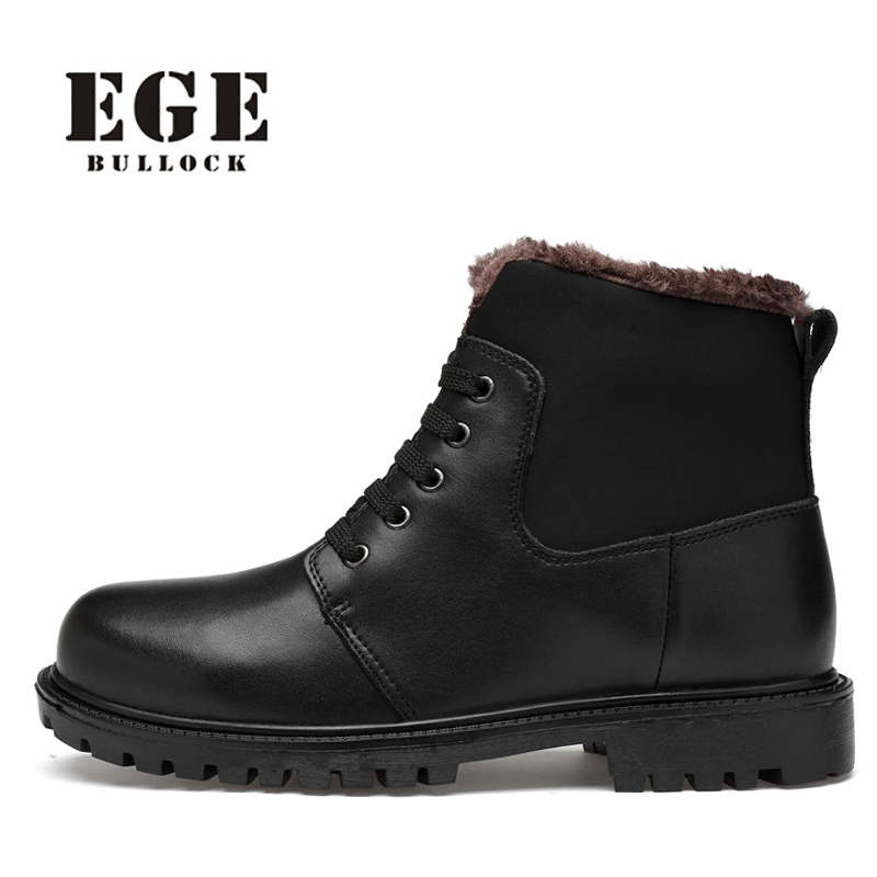 Men Winter Boots Classic Shoes Genuine Leather Big Size Black Men Shoe Lace up Super Warm Snow Boots Casual Ankle Boots for Men desert ram brand new ankle bot lace up men s boots leather boots for men shoes casual boot male winter black white sneakers shoe
