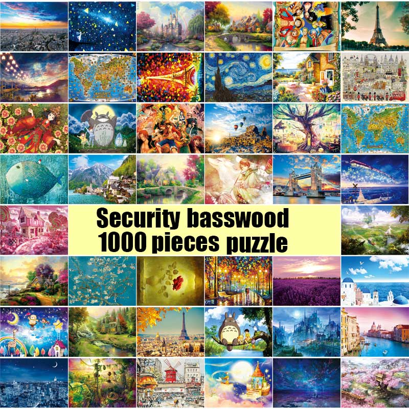 27 Types Hot Sale Adult 1000 pieces Jigsaw Landscape Cartoon W <font><b>Puzzle</b></font> Children Educational Toy Christmas Gift <font><b>Puzzles</b></font>