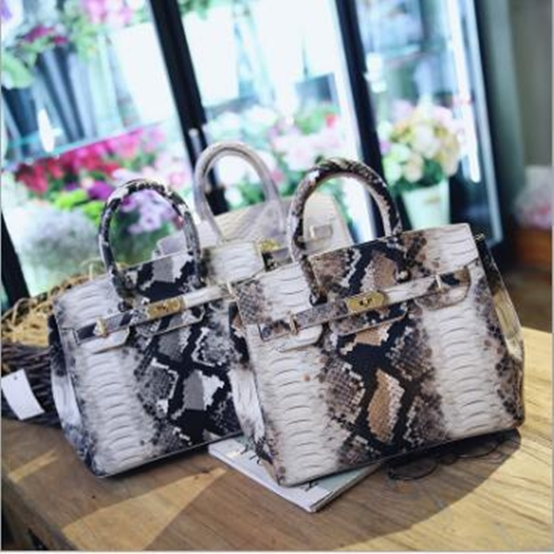 Women Python Pattern Handbags Luxury Serpentine Leather Shoulder Bag Lock Tote Bag Clutch Messenger Bag Crossbody High Quality