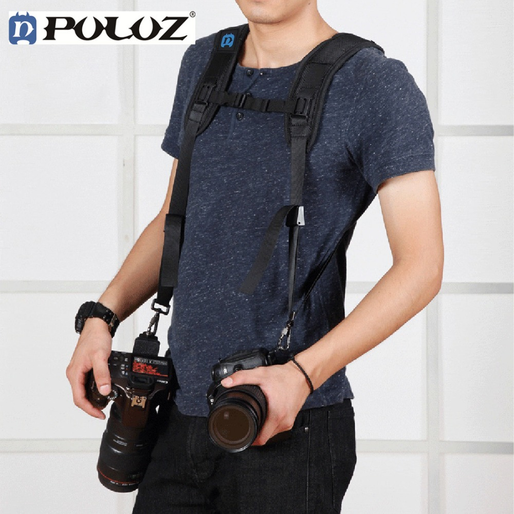 PULUZ Fashionable Durable Soft SLR DSLR Professional K Pattern Camera Double Shoulder Strap Black Adjustable ...