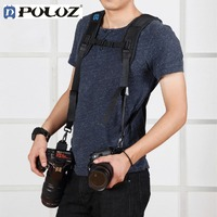PULUZ Fashionable Durable Soft SLR DSLR Professional K Pattern Camera Double Shoulder Strap Black Adjustable