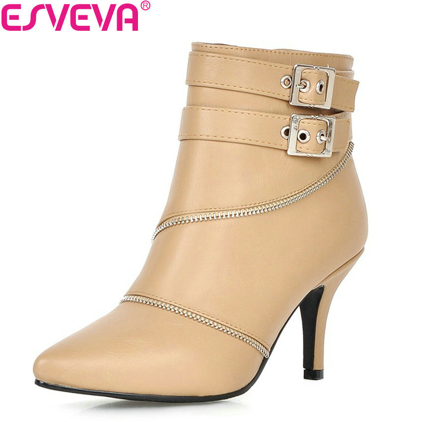 ESVEVA 2018 Western Pointed Toe Party Shoes Ladies Buckle Autumn Women Boots Pu Thin High Heel Ankle Boots Apricot Size 34-40 esveva 2018 women boots pointed toe genuine leather pu thin high heels ankle boots zippers sexy ladies buckle boots size 34 39