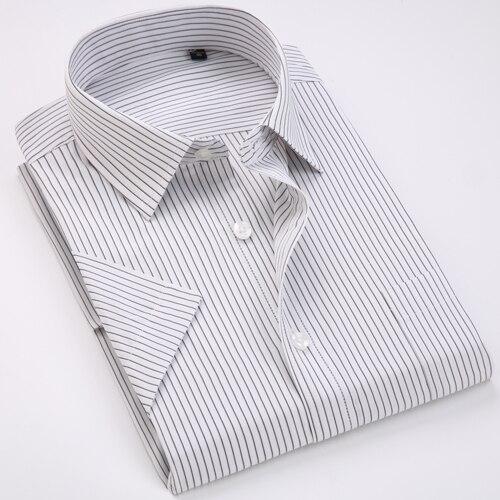 Men's Regular-fit Summer Short Sleeve Solid Classic Shirt Single Patch Pocket Formal Business Work Office Basic Dress Shirts 13