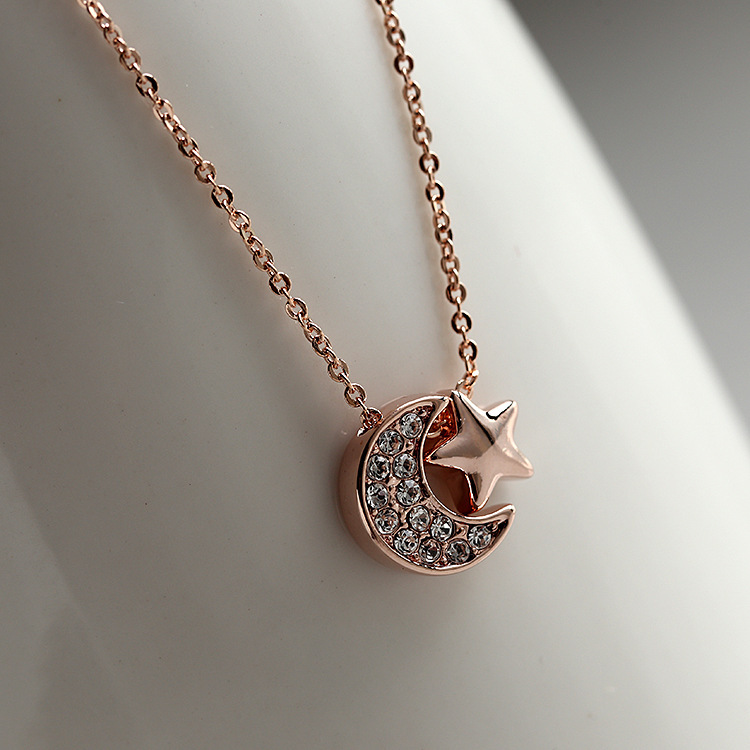 Fashion delicate Necklaces Women 18K Rose Gold Plated Clear Austria Crystal Moon Star Pendant Necklace - Sycamore Trade store