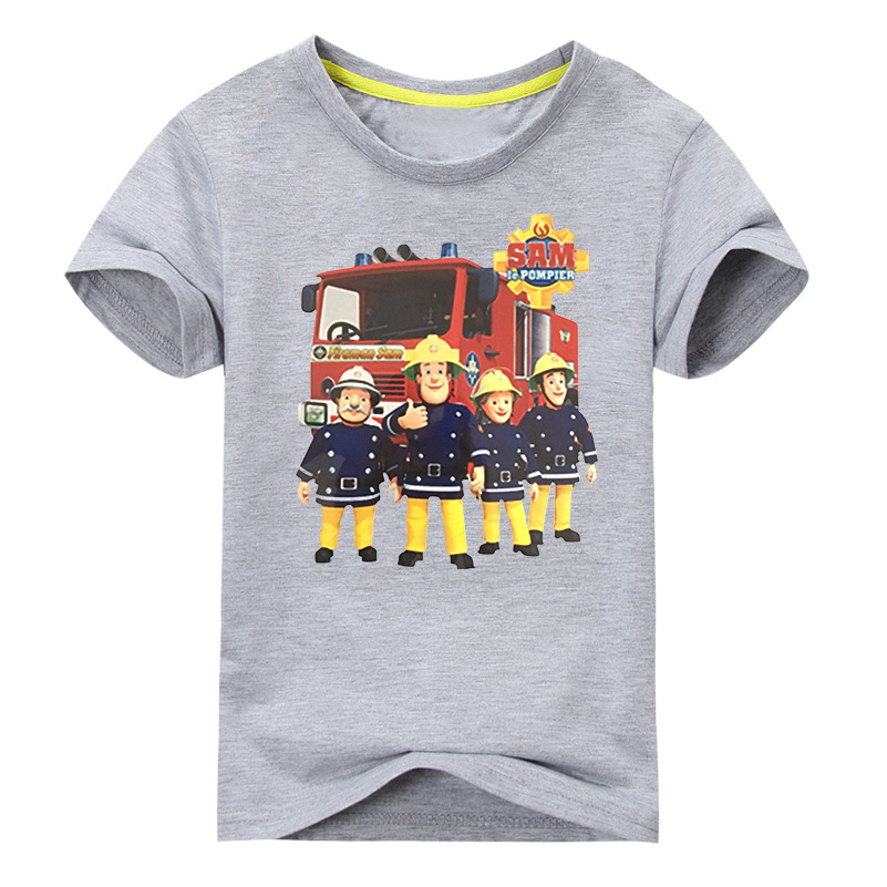 Children Hot Cartoon Fireman Sam Print Tee Tops Clothes For Kid Short Sleeve T-shirts Boy Girls 100Cotton T-shirt Costume DX008