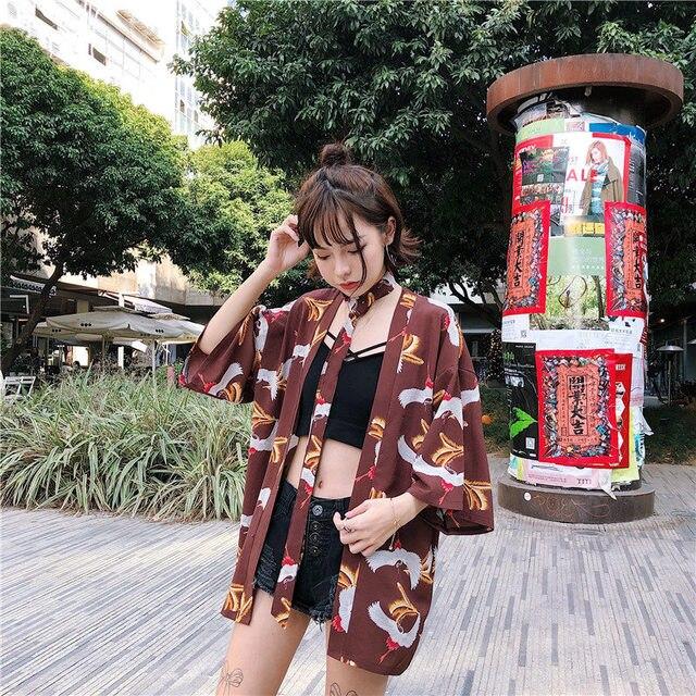 Harajuku Style  Kimono Japanese Old-fashioned Street Loose Shirts Women 2018 Summer Korea Sun Protection Vacation Clothing 1