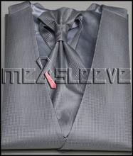 Wholesale  wedding man's silver with small dot waistcoat 4pcs(waistcoat+ascot tie+cufflinks+handkerchief)