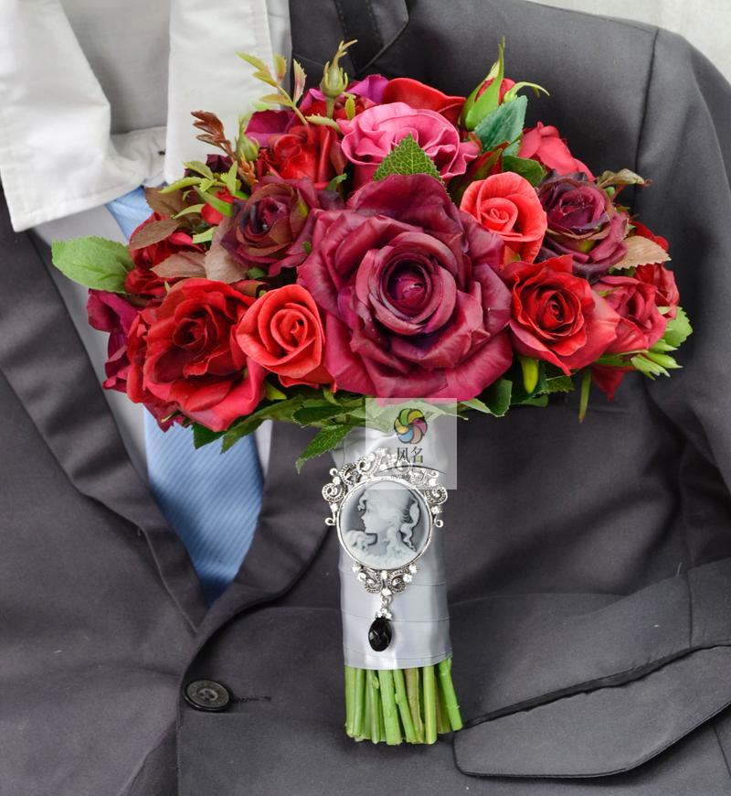Bouquets de mariage à la main Floral mariée Bridemaids Bouquet rouge vraie touche Rose fleur fleurs artificielles décor fournitures de mariage