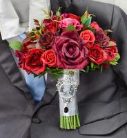 Handmade Wedding Bouquets Floral Bridal Bridemaids Bouquet Red Real Touch Rose Flower Artificial Flowers Decor Wedding
