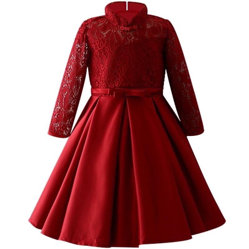 Girls long sleeves Lace Princess Dress 3-10 year Fall children Show performance Dress High quality Christmas party dress цена 2017