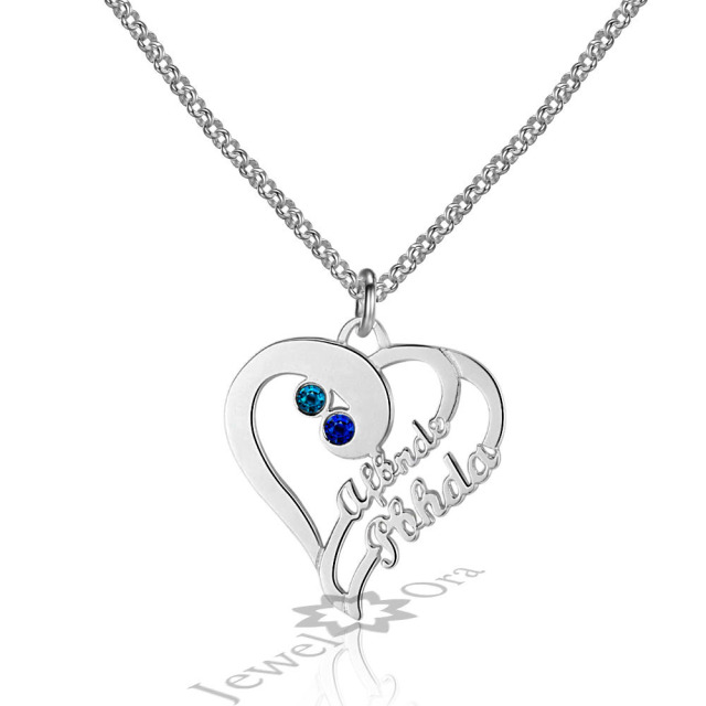 Diy personalized 925 sterling silver birthstone heart necklace diy personalized 925 sterling silver birthstone heart necklace custom made any letters names pendant necklace for aloadofball Images