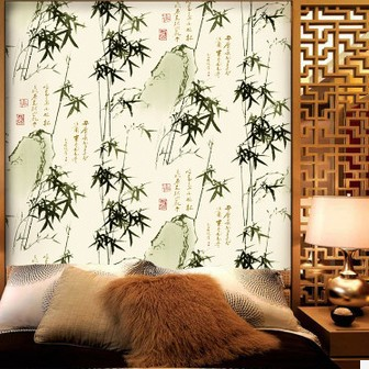 Chinoiserie Wallpaper PVC Chinese Style Calligraphy TV Sofa Background Murals Green Bamboo Entranceway