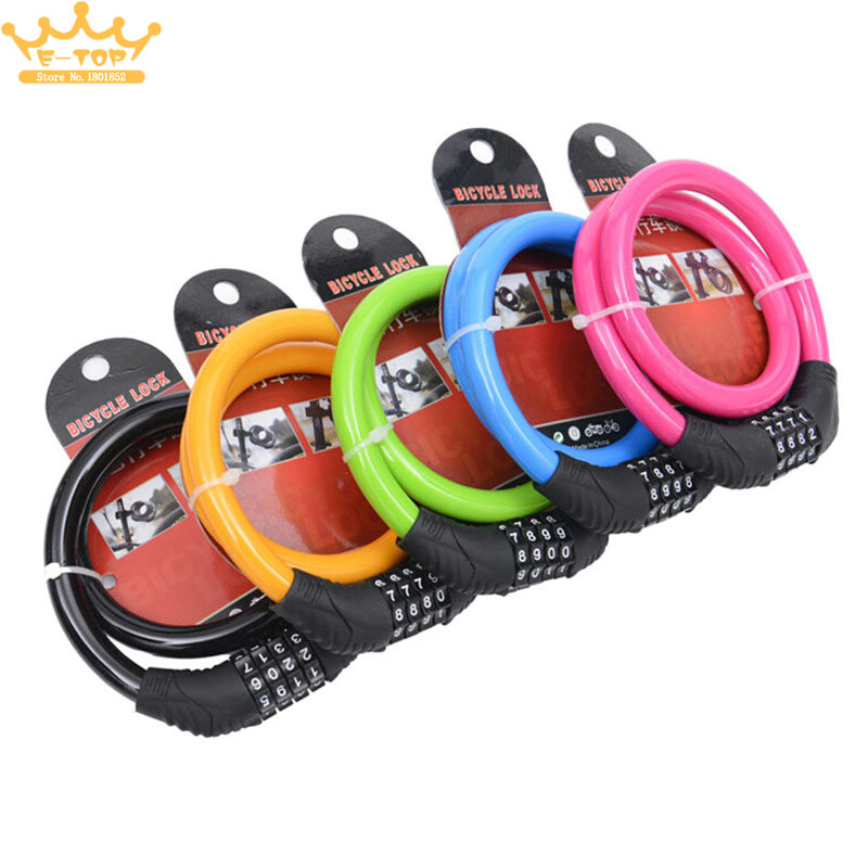 4 colour 4 Digit Combination Password Cycling Security Bike Bicycle Cable Steel Wire Chain Lock