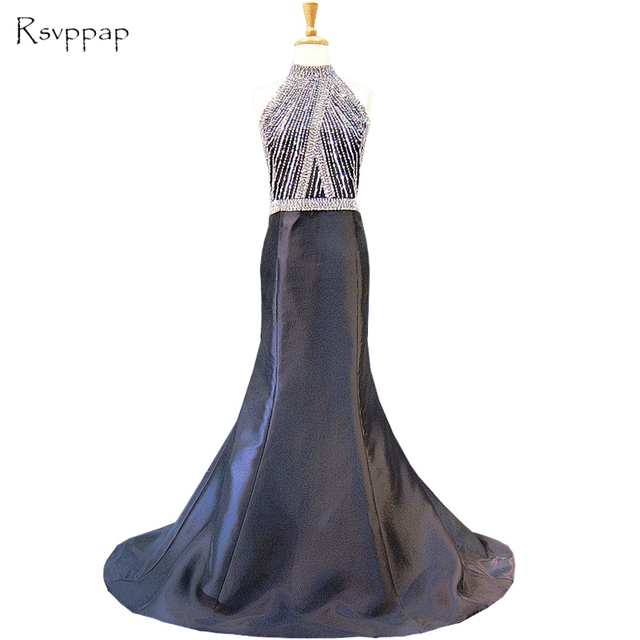 Long Evening Dress 2017 Real High Neck Beaded Crystals African Black Mermaid Women Formal Gowns Special Occasion Dresses