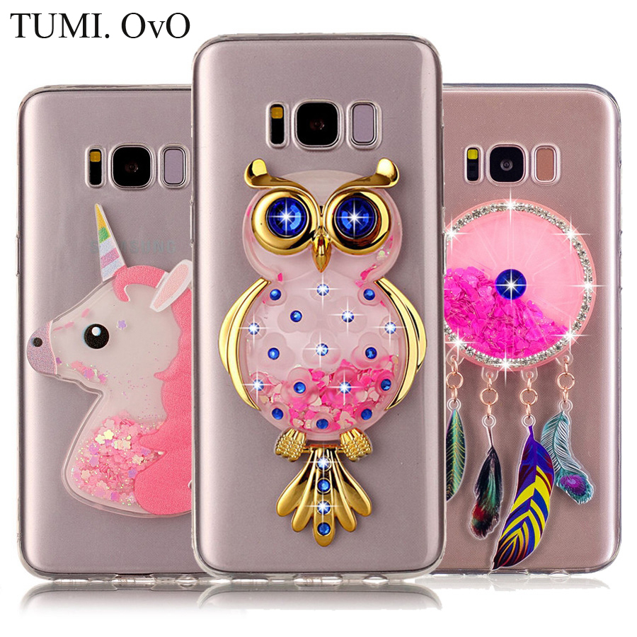 3D Diamond Animal Unicorn Quicksand Liquid Soft Silicone Case For Samsung Galaxy J3 J5 J7 S6 S7 edge S8 PlusPhone Cover Capa